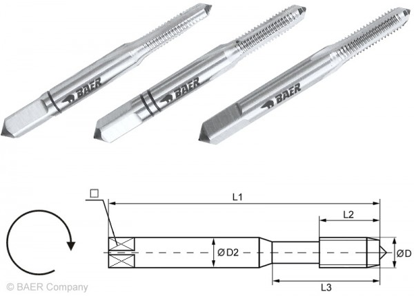 BAER HSSG Handgewindebohrer 3-tlg. Satz UNC Nr. 10 x 24