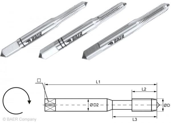 BAER HSSG Handgewindebohrer 3-tlg. Satz UNC Nr. 3 x 48
