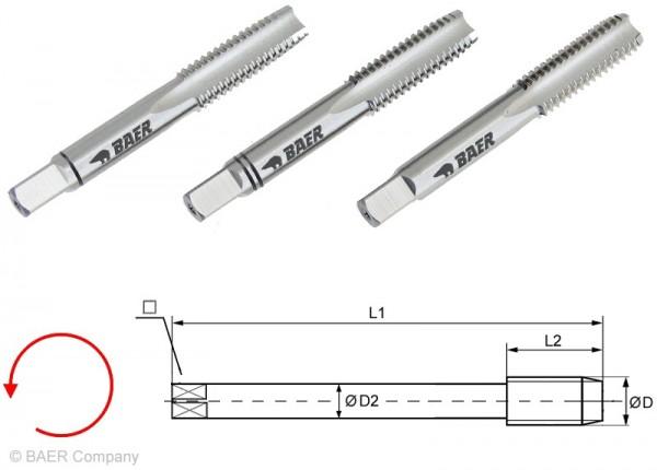 BAER HSSG Handgewindebohrer 3-tlg. Satz UNC 7/8 x 9 - LINKS