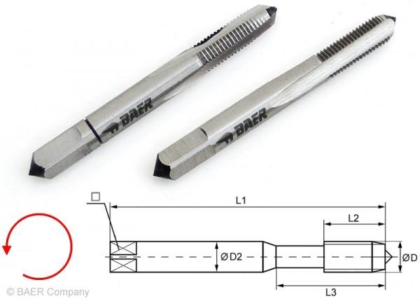 BAER HSSG Handgewindebohrer 2-tlg. Satz UNF Nr, 10 x 32 - LINKS