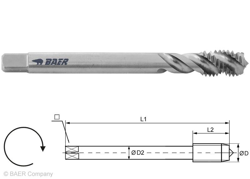 HSS-E Machine Tap M14 x 1.25 Spiral Flute Din 374