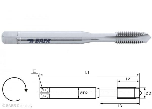BAER HSSE Maschinengewindebohrer Form B - 7G - M 3 x 0,5 - DIN 371