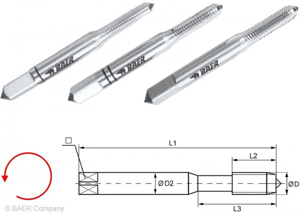 BAER HSSG Handgewindebohrer 3-tlg. Satz BSW 3/16 x 24 - LINKS