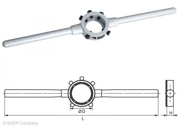 BAER Druckguss-Schneideisenhalter 55 x 16mm   MF 22-26   G 5/8-3/4