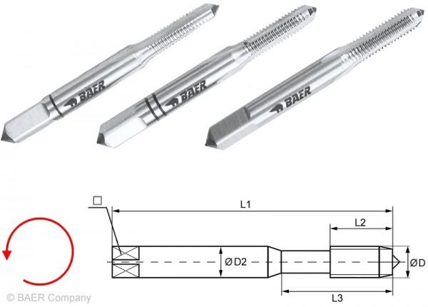 BAER HSSG Handgewindebohrer 3-tlg. Satz UNC Nr, 6 x 32 - LINKS