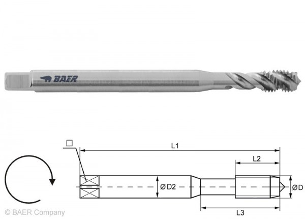 BAER HSSE Maschinengewindebohrer 35° RSP - 120 mm - M 10 x 1,5